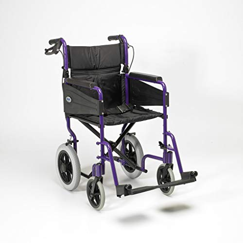 Days Escape Lite Aluminium Wheelchair, Lightweight and Foldable Frame, Attendant-Propelled Wheelchair, Portable Transit Travel Chair, Removable Footrests, Narrow, Purple