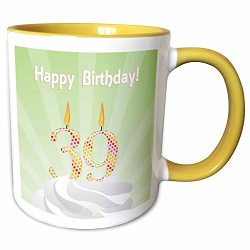- 3dRose Beverly Turner Birthday Design - Number 39 Candle with Colorful Dots on Top of Whipped Icing, Happy Birthday - 15oz Two-Tone Yellow Mug (mug_179374_13)
