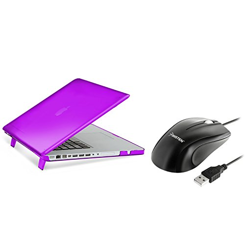 "MacBook Pro 15"" Case, Insten Purple Snap-in Rubber Case + optical mouse compatible with Apple MacBook Pro 15"""