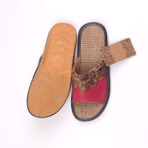 Lin Cuir Automne Été Maison En Intérieur Plat Tongs Chaussons Femmes Sandales Chaussures Rouge Véritable PPwUIznRT