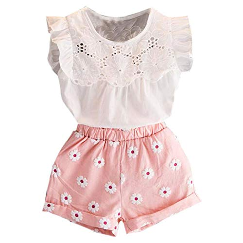 Happy Town 2PCS Set Toddler Kids Baby Girls Outfits Clothes T-Shirt Vest Tops+Shorts Pants(2-6 T) (Pink, 3 T) by Happy Town