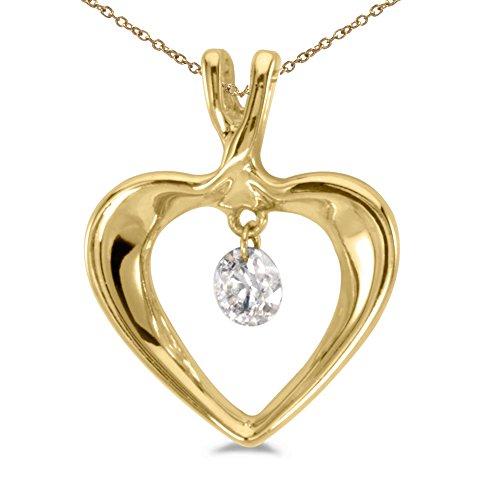 14K Yellow Gold Dashing Diamonds Pendant with 18″ Chain