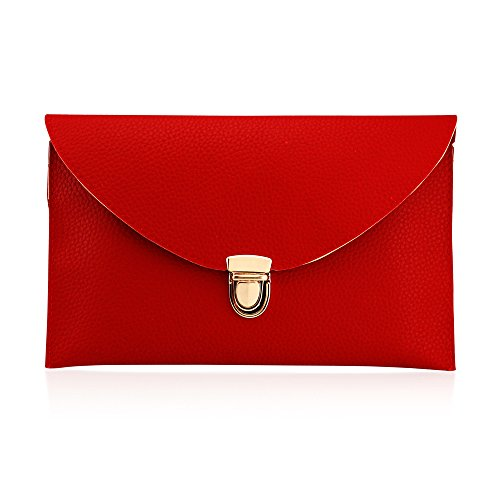 GEARONIC TM Fashion Designer Women Handbag Tote Bag PU Leather Shoulder Ladies Girls Purse Teens for Beach Travel Work Evening Day School Red