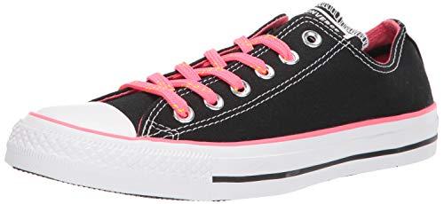 Converse Women's Chuck Taylor All Star Neon Low Top Sneaker, Black/Racer Pink/White, 7 M US (Women Flowers Converse)