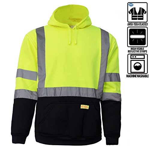 New York Hi-Viz Workwear H8312 Men's ANSI Class 3 High Visibility Class 3 Sweatshirt, Hooded Pullover, Knit Lining, Black Bottom (Lime, Large)