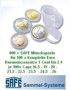 Caja fuerte 800 cápsulas para monedas EURO 100 x todo ...