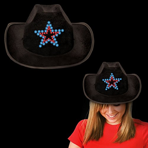 - Loftus International Cowboy Hat with Flashing LED Star Light-up, Black