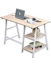 soges Schreibtisch 120×60cm Computertisch Büromöbel PC Tisch Bürotisch Arbeitstisch aus Holz und Stahl, mit 2 Ablagen