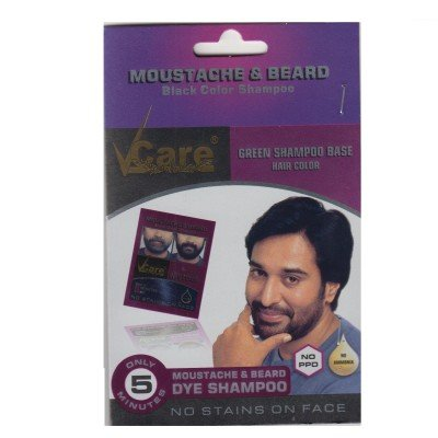 Buy Vcare Moustache and Beard Black Color Shampoo (Pack of 10 ...