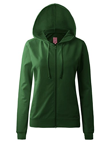 Regna X Womens Long Color Pocket Pullover Full Zip Hooded Sweatshirt Green 3XL