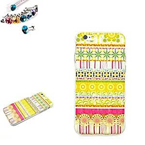 PG Yellow Pattern TPU Back Cover Case With The Dustproof Plug for iPhone 6 Plus