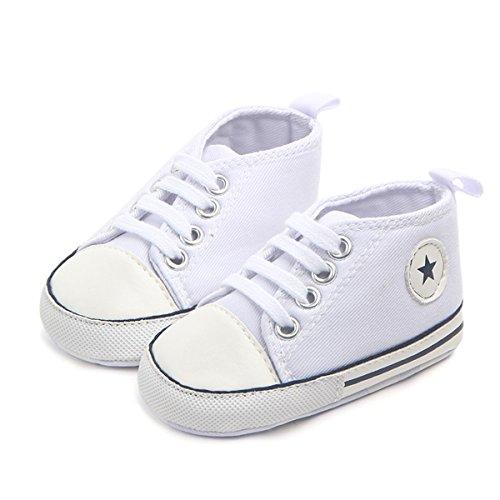 Tutoo Unisex Baby Boys Girls Soft Anti-Slip Sole Sneakers Newborn Intant First Walkers Canvas Denim Shoes (12-18 Months, White) Walker Denim