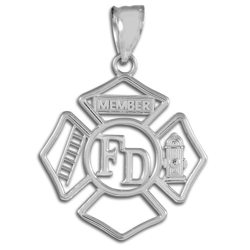 Silver FD Open Badge Firefighter Pendant
