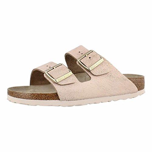 Birkenstock Women's Arizona Cork Footbed Slide Sandal-Narrow Rose Gold 38 N (Birkenstock Suede Sandals)