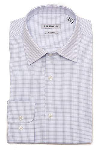 - Haggar Men's Premium Performance Slim Fit Dress Shirt, Light Blue Check, 15-15.5 32-33