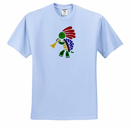Kokopelli Adult T-shirt - 3dRose All Smiles Art Music - Funny Colorful Turtle Dancing Kokopelli and Playing Horn - T-Shirts - Adult Light-Blue-T-Shirt Small (ts_240050_50)