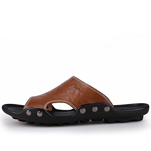 Zapatillas de cuero de los hombres fracasos hechos a mano de la vendimia sandalias de la manera y cómodas Brown