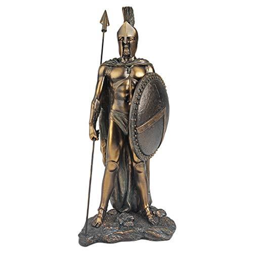 Design Toscano Legendary Spartan Warrior Statue in Verdigris Faux Bronze - King Leonidas Spartan Replica Shield