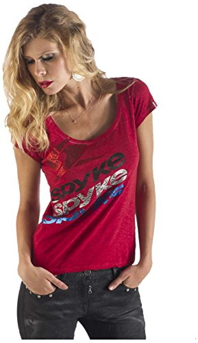 Spyke OWB3 Original Bikers Jeans Camiseta Para Mujer, Manga Corta, Blood L