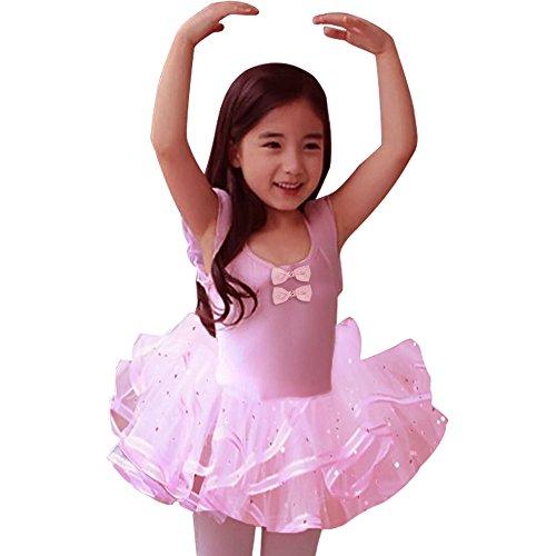 Baby Girls Dresses Ballet Princess Dance tutu Skirt Dance lessons Dress Pink 2-6T