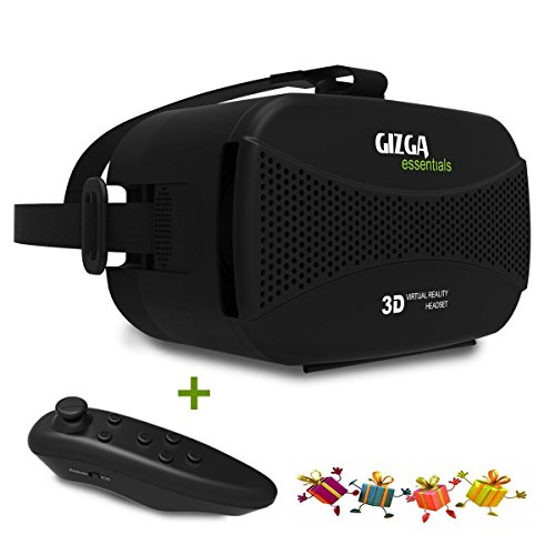 GIZGA 3D VR Glasses Box Virtual Reality Headset 3D Video Glasses Helmet for 3.5 to 5.5 Inch Smartphones iPhone Samsung LG HTC Sony Cellphones(Black with Remote Controller)