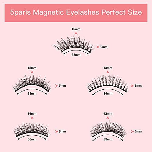 5 Pairs Magnetic Eyelashes with Eyeliner Kit, Shinyevfd Upgraded 3D Magnetic Lashes Pack Natural Look with Tubes Magnetic Eyeliner Kit & Unique Applicator Tool
