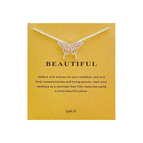 Lyric U Wave Necklace Friendship Good Luck Sun Elephant Horseshoe Leaf Pendant Chain Necklace with Gift Card (Butterfly)