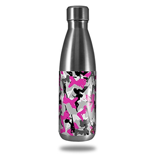 Skin Decal Wrap for RTIC Water Bottle 17oz Sexy Girl Silhouette Camo Hot Pink Fuschia (BOTTLE NOT INCLUDED) by WraptorSkinz