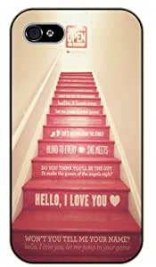 iPhone 4 / 4s Hello, I love you. Stairs - Black plastic case / Inspirational and motivational life quotes / SURELOCK AUTHENTIC