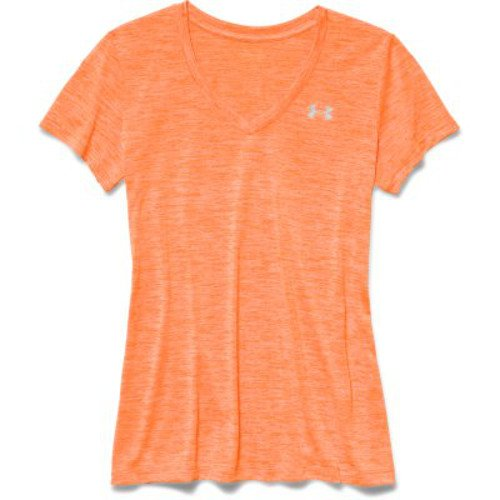Under Armour Women's Tech Twist V-Neck, Cyber Orange /Metallic Silver, X-Small