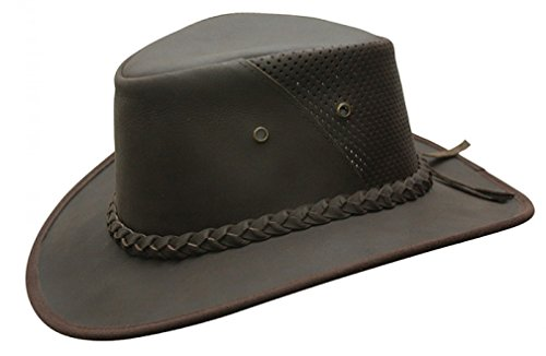 Conner Hats Men's Down Under Leather Breezer Hat, Dark Brown, M (Conner Leather)