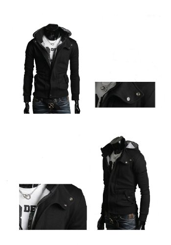 Mens Casual Luxury Buckle Top Designed Jacket Hoodie Slim Sweatshirt Coat