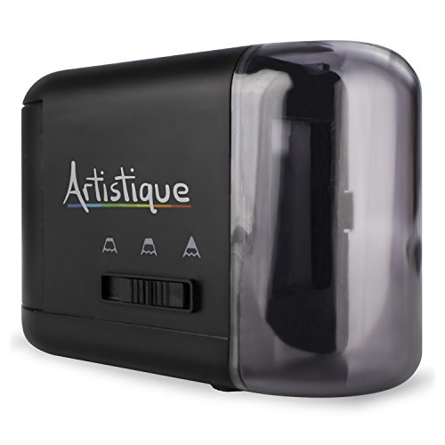 Artistique Electric Pencil Sharpener - Best Heavy-Duty Automatic Electric Pencil Sharpener for Art, Office & School - Works w/ Lead & Colored Pencils - Uses Battery or Wall Power - Black