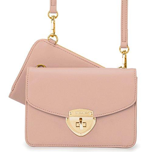 Wallet Crossbody Card Clutch Small Faux Multi Pink Set Women's 2pcs Purse Leather DAVIDJONES zxwYq8I0y