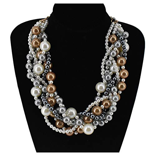(Utop Simulated Pearl Choker Necklace for Women Bridal Wedding Pearl Statement Necklace (White/Grey/Champagne))