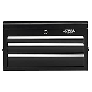 Viper Tool Storage V2603BLC 26-Inch 3-Drawer 18G Steel Top Chest, Black
