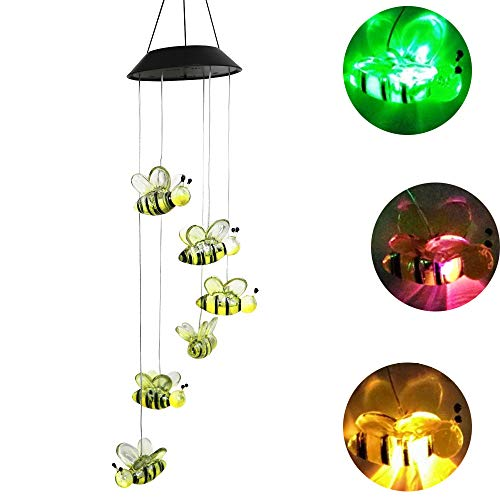 Youqian Solar Bee Wind Chimes, Color-Changing Moving Rotating Wind Chime Waterproof Automatic Light Sensor Outdoor Decor for Home Party Balcony Porch Patio Garden]()