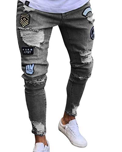 Sportivi Fori Jeans Comodo Battercake Stretch Pantaloni Fit Slim Grau Chern Da Attillati Con Destrutturati Uomo Denim v44nf0dT