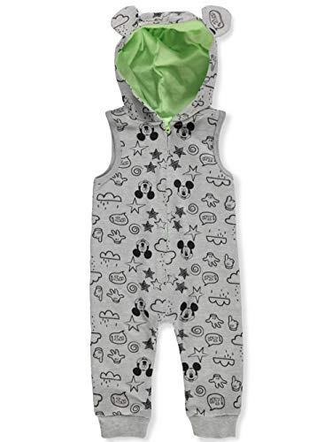 (Disney Mickey Mouse Baby Boys' Hooded Coverall - Gray/Black, 6-9 Months)