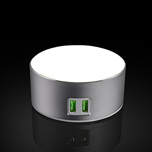 USide Smart LED Bedside Phone charger,Dimmable Bedside Lamp/Nightstand Lamp with 3-Level Brightness,Touch-Sensitive Control, Built-in 2 USB Smart Charging Port, SILVER Built In Lamp
