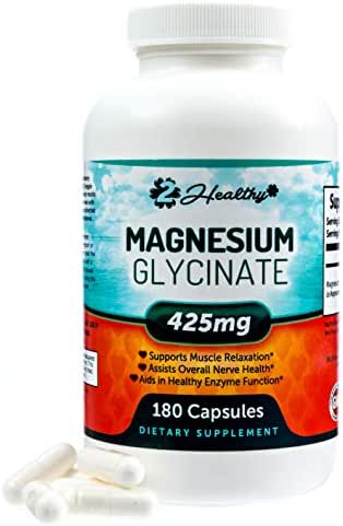 Premium Magnesium Glycinate 425mg - 180 Non-Laxative Vegan Capsules, High Absorption & Bioavailable Caps for Tension, Muscle Cramps, Stress Relief & Sleep | Non GMO Chelated Bisglycinate Supplement