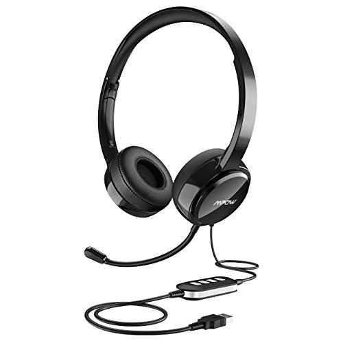 Mpow USB Headset (All-Platform Edition) with 3.5mm Jack, Stereo Computer Headset with Microphone Noise-Canceling, Skype Headphones w/Comfort-fit Earpad, Inline Volume Control for PC/Laptop/Cell Phone ()