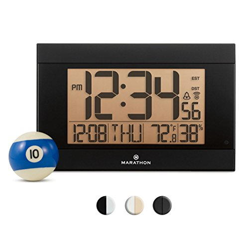 Marathon CL030052BK Atomic Digital Wall Clock With Auto-Night Light, Temperature & Humidity - Batteries Included. Black -