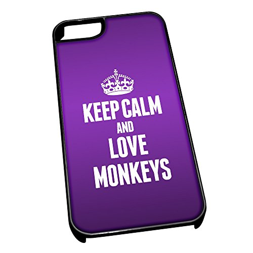 Cover per iPhone 5/5S, colore: nero 2458 – Viola Keep Calm And Love scimmie