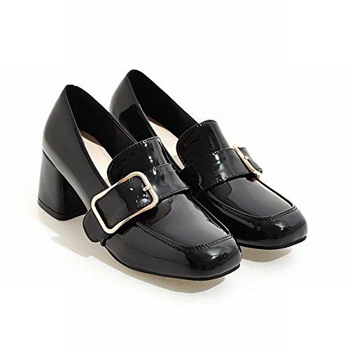 Latasa Dames Vierkante Neus Dikke Hak Monniks Laars Loafers Schoenen Zwart