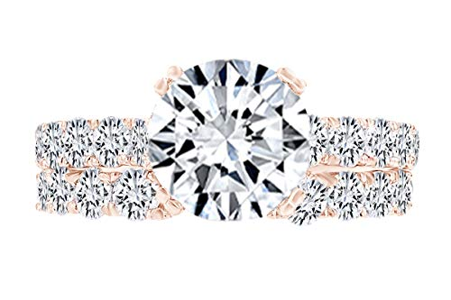- 1.62 Carat Round Shape White Natural Diamond Semi Mount Wedding Ring Set 18K Solid Rose Gold Ring Size-6.5
