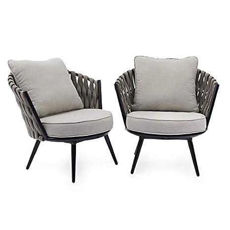 Amazon.com: Juego de 2 sillas de patio con cuerdas de color ...