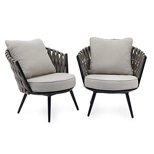 Amazon.com: Contemporary Modern Gray Beige Rope Woven Set of ...