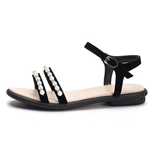 punta mujer abierta hebilla AgooLar con tacones bajos para negras sólida sandalias BdqUF4
