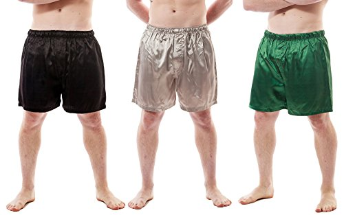 Up2date Fashion Men's Satin Boxer Shorts Combo Pack, Style-MSC01B (L)